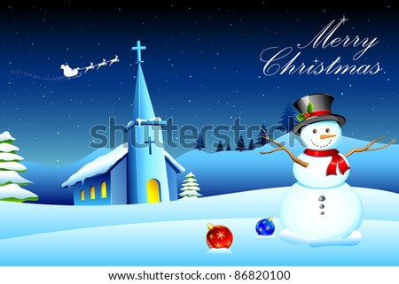 illustration of snowman in front of church in christmas night