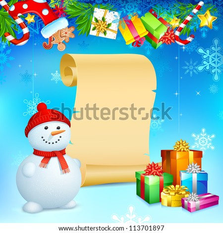 illustration of snowman with Christmas gift and blank scroll
