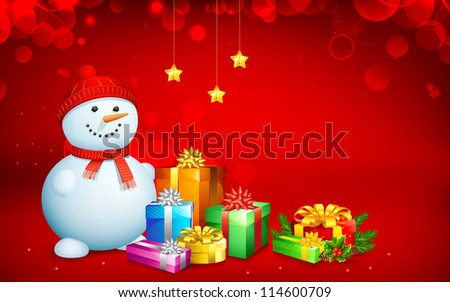 illustration of snowman with gift box for Christmas