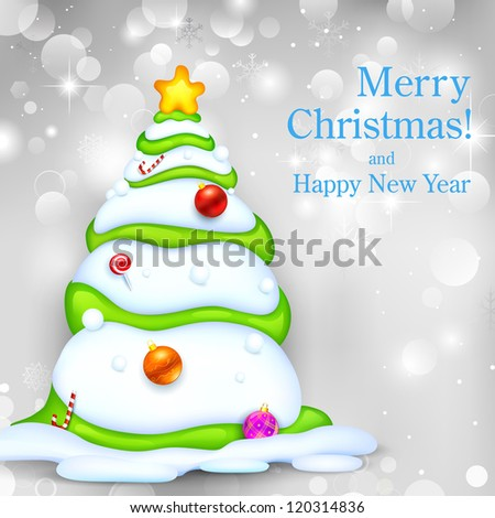 illustration of snowy Christmas tree on abstract background