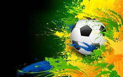 illustration of soccer ball in Football background