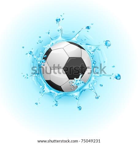 illustration of soccer ball on splashing water - stock vector