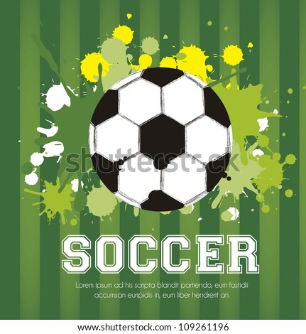illustration of soccer ball with paint stains on a background of green lines, vector illustration