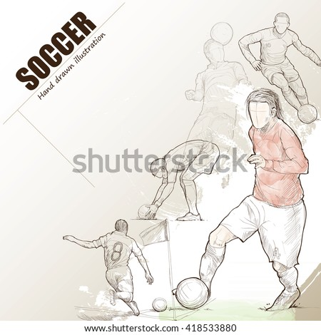 Illustration of soccer. hand drawn. soccer poster. Sport background.