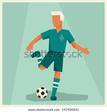Illustration of soccer player in flat design style