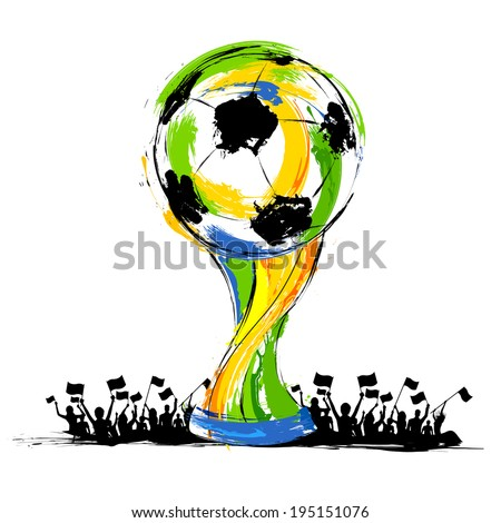 illustration of soccer trophy in Football background