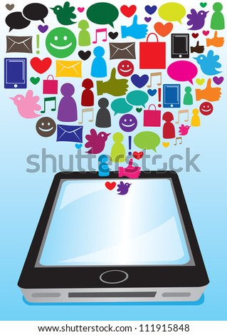 Illustration of social media and computer icons going into the touchscreen of smart phone