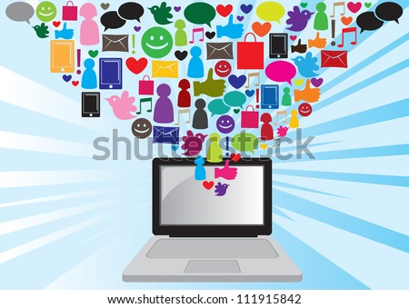 Illustration of social media and information technology icons and symbol from a laptop computer with blue dynamic sun beam background.