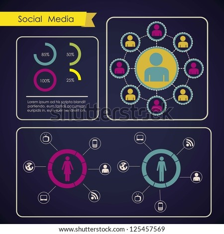 illustration of Social Media Infographic, with colors graphs and business icons, vector illustration