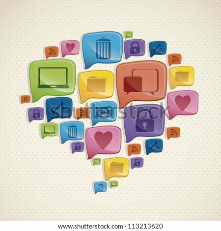 Illustration of social networking icons forming a text balloon, vector illustration