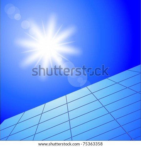 Illustration of solar panels and sunny sky. Vector.