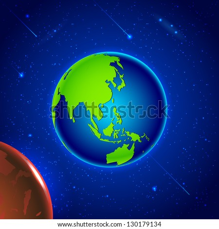 Illustration of solar system with Earth in space - stock vector