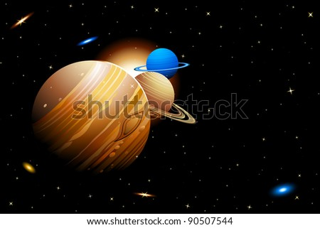 illustration of solar system with planets moving in orbits