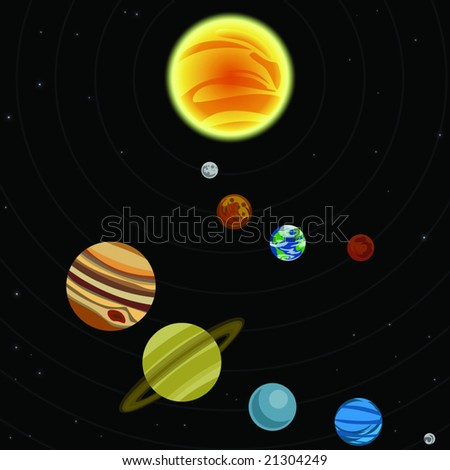 Illustration of solar system with stars and planets