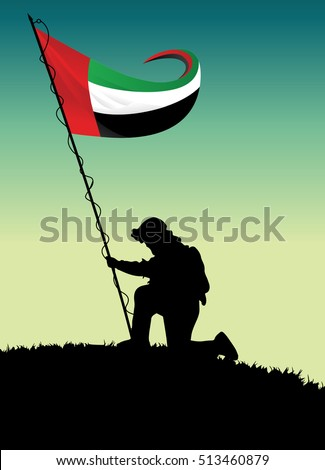 illustration of soldier raising
