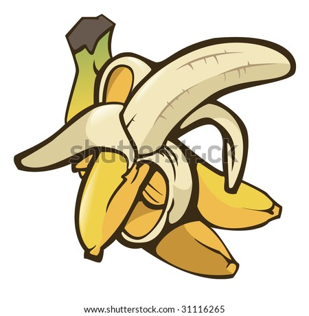 Illustration of some bananas on white background - Isolated object