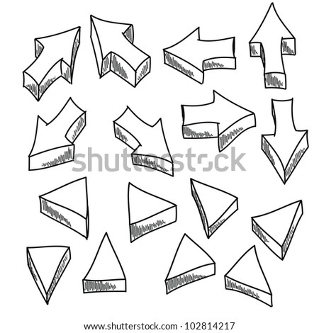 Illustration of some hand-drawn arrows and triangles. - stock vector