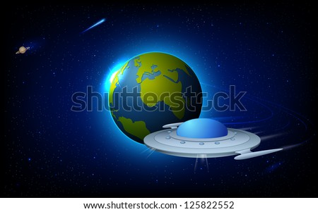illustration of space craft near earth in space