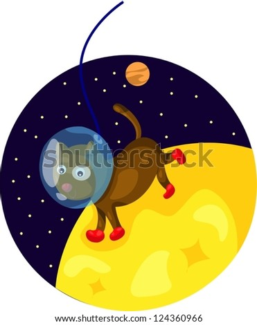 illustration of  space dog running on the moon - stock vector