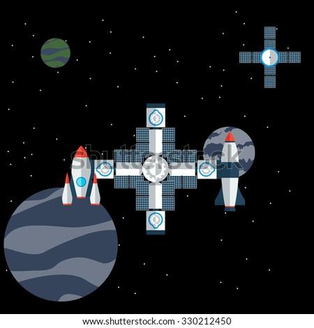 illustration of space station