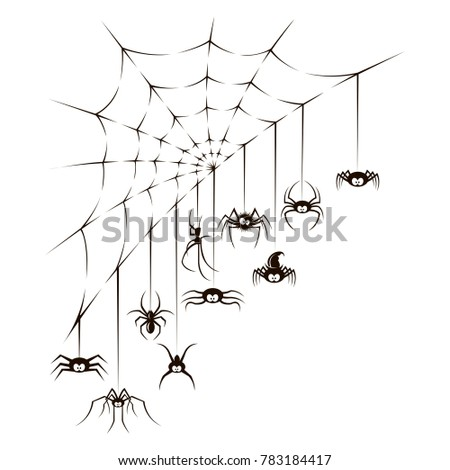 illustration of spiders and spiderweb on white background