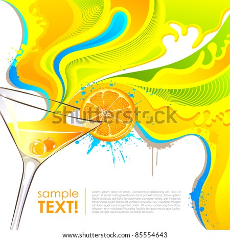 illustration of splash of colorful drink from mocktail glass - stock vector
