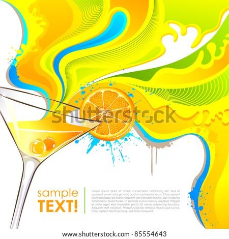 illustration of splash of colorful drink from mocktail glass