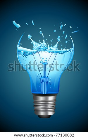 illustration of splashing water coming out of broken bulb