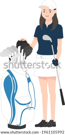 Illustration of sports golf. A young female golfer with a golf bag (caddie bag) and a golf club. Foto stock ©