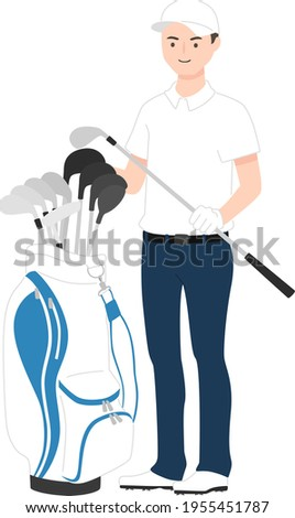 Illustration of sports golf. A young male golfer with a golf bag (caddie bag) and a golf club. Foto stock ©