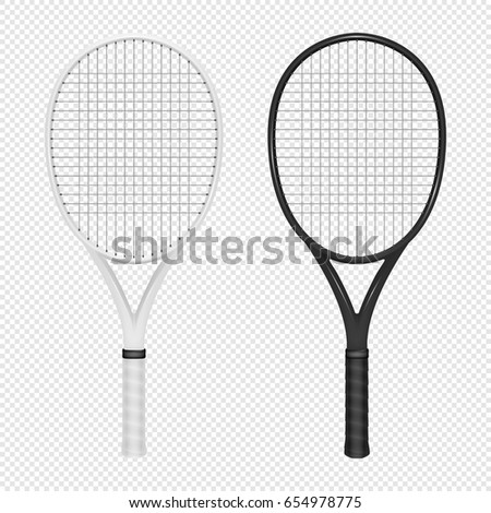 Illustration of sports realistic icon set - two tennis rackets. White and black colors. Design templates in vector. Closeup isolated on transparent background.