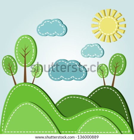 Illustration of spring hilly landscape with clouds, dashed style