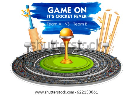 illustration of Stadium of Cricket with Bat, wicket and Trophy