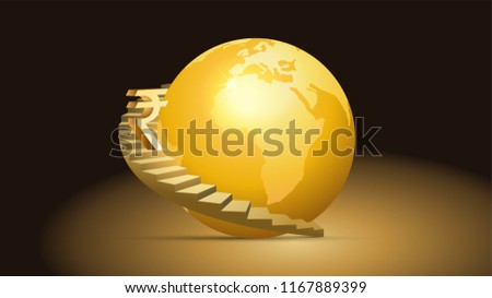 Illustration of Stairs and Rupee symbol with Globe #1167889399