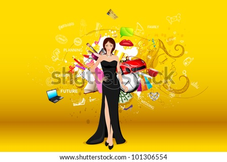illustration of standing fashionable lady with object all around