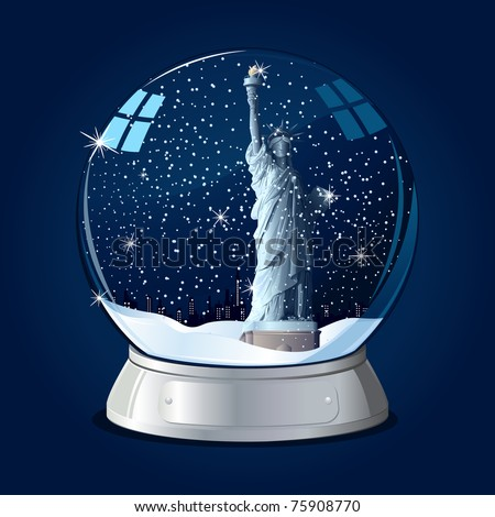 illustration of Statue of Liberty in glass globe with snowflakes