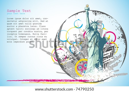 illustration of statue of liberty on abstract city scape background