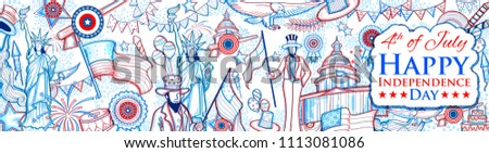 illustration of Statue of Liberty on American flag background for Fourth of July, Independence Day of America