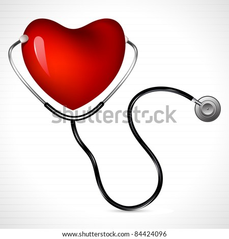 illustration of stethoscope on heart on abstract background