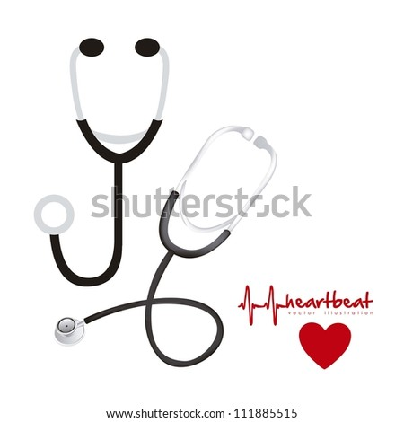 illustration of stethoscopes, in silhouette and 3d, vector illustration