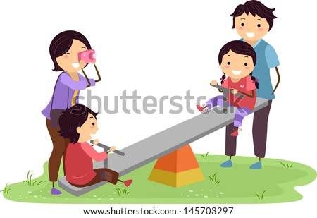 family having fun in the playground 145703297 stock vector family ...