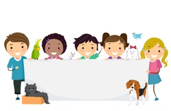Illustration of Stickman Kids and Cat, Dog, Bird, Mouse Holding a Blank Banner