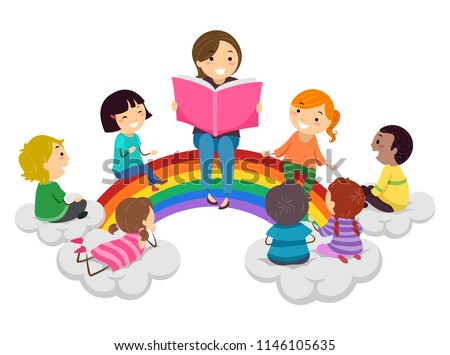 stock-vector-illustration-of-stickman-kids-and-teacher-reading-a-book-and-sitting-on-a-rainbow