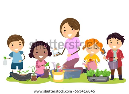 Illustration of Stickman Kids and Teacher Recycling Things for the Garden