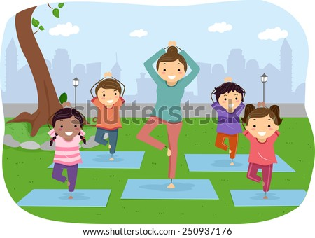 Illustration of Stickman Kids Doing Yoga Outdoors