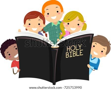 Illustration of Stickman Kids Holding a Big Open Bible Book