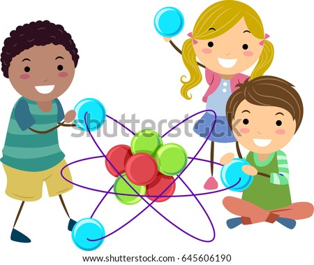 Illustration of Stickman Kids holding an Atom Toy Model for Science Class