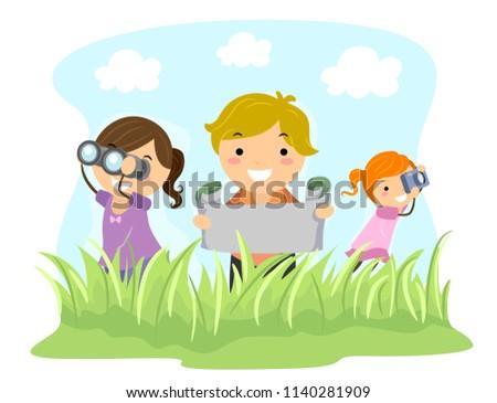 Illustration of Stickman Kids Holding Binoculars, Map and Camera Exploring Outdoors