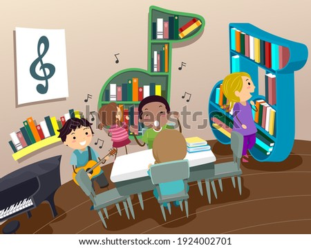 Illustration of Stickman Kids in a Music Room with Books and Piano and Guitar