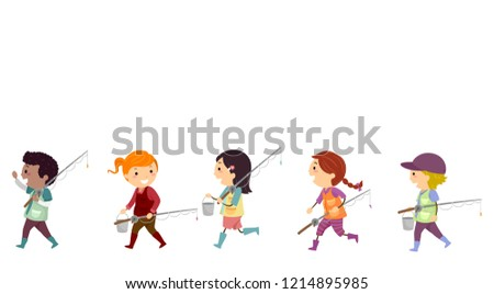 Illustration of Stickman Kids in Boots, with Fishing Rods and Pail Going Fishing